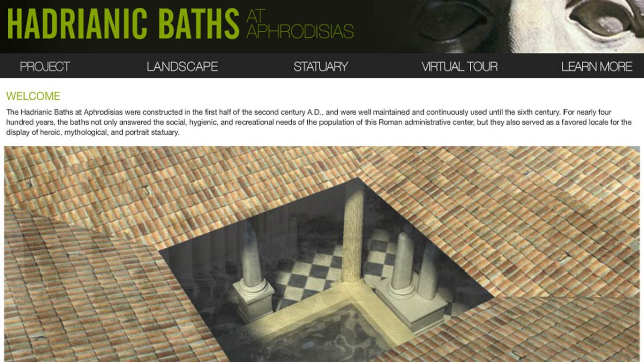 A screen capture of the Aphrodisias project website.