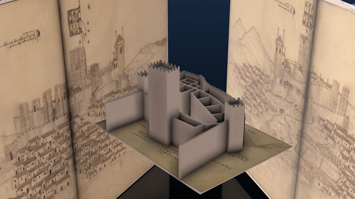Model of a medieval Portuguese fortress with its historical documentation in the background. Image Credit: Book of Fotresses project team.