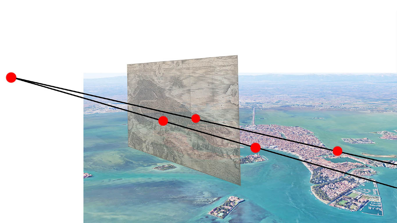 Viewpoint analysis showing the relationship between the de'Barbari View's perspectival orientation and Venice's layout. Image Credit: Augustus Wendell