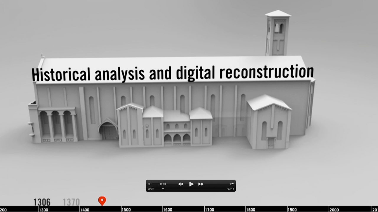 Screen capture from an animation showing the construction of a church at Eremitani.