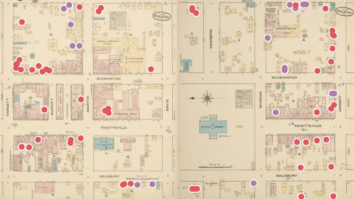 A Sanborn map annotated to show the locations where Black people worked and lived in early-twentieth-century Raleigh. Map Credit: Paloma Rodney