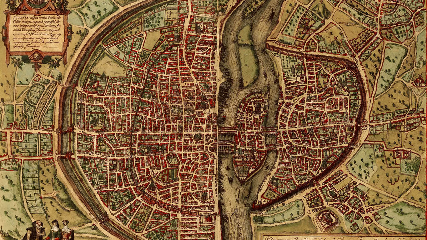 Georg Braun and Frans Hogenberg, Aerial view of Paris in the Civitates orbis terrarum (Cologne, 1572). Image credit: Rubenstein Library at Duke University, https://idn.duke.edu/ark:/87924/r4h41rn8z.