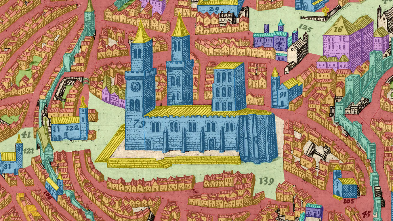 Digitally annotated medieval city view. Image credit: Edward Triplett