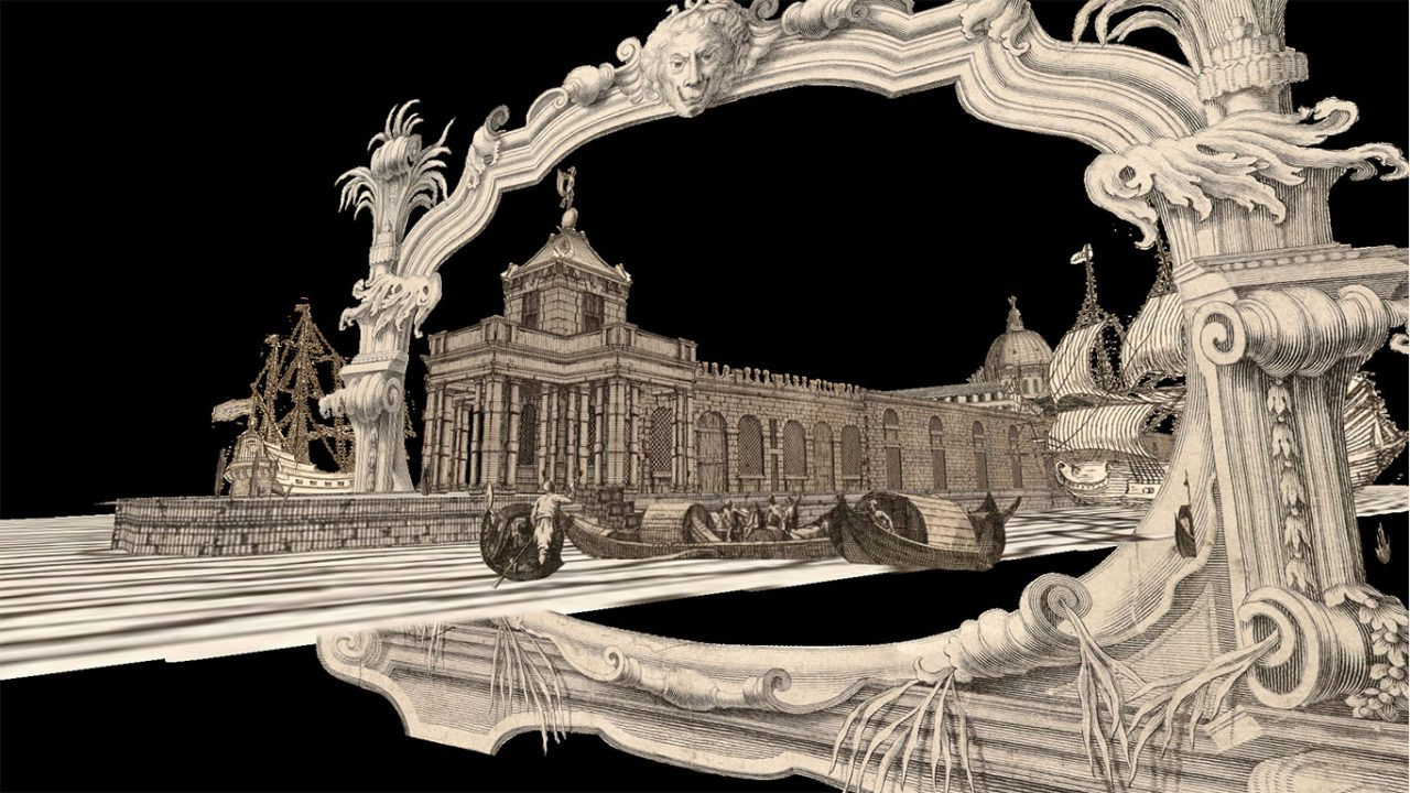 Still from a 3D parallax animation using historic imagery to show Venetian boats entering and exiting the city.