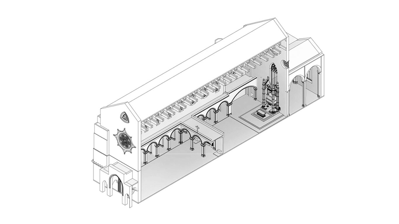 A partial model of the Sta. Chiara church in Naples showing the likely placement of a medieval choir screen. Image credit: Andrea Basso & Elisa Castagna.